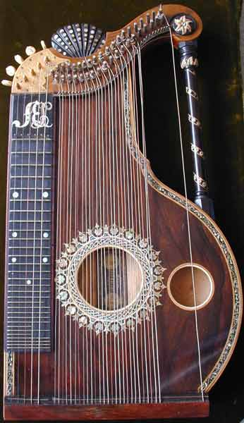 Early Musical Instruments, antique Konzertharfenzither, Concert Harp Cittern by Franz Schwarzer